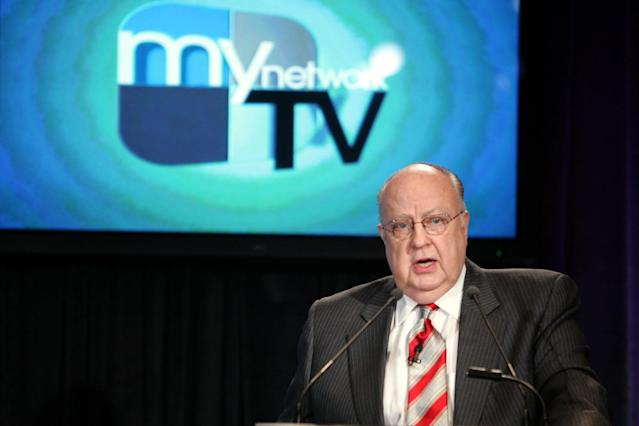 <p>Roger Ailes, chairman of Fox Television Stations, addresses reporters during a news conference in New York, Feb. 22, 2006. (Photo: Mary Altaffer/AP) </p>