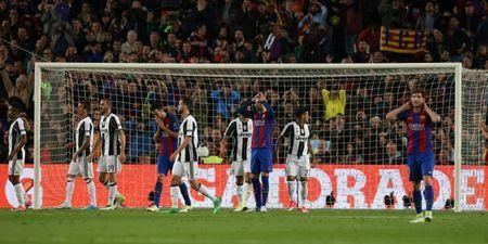 Football Soccer - FC Barcelona v Juventus - UEFA Champions League Quarter Final Second Leg - The Nou Camp, Barcelona, Spain - 19/4/17 Barcelona's Gerard Pique and Sergio Busquets look dejected Reuters / Albert Gea Livepic