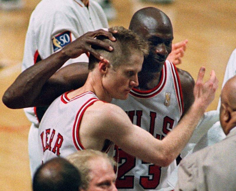 Michael Jordan was kicked out of practice after giving Steve Kerr a black eye ahead of the 1995-96 season.