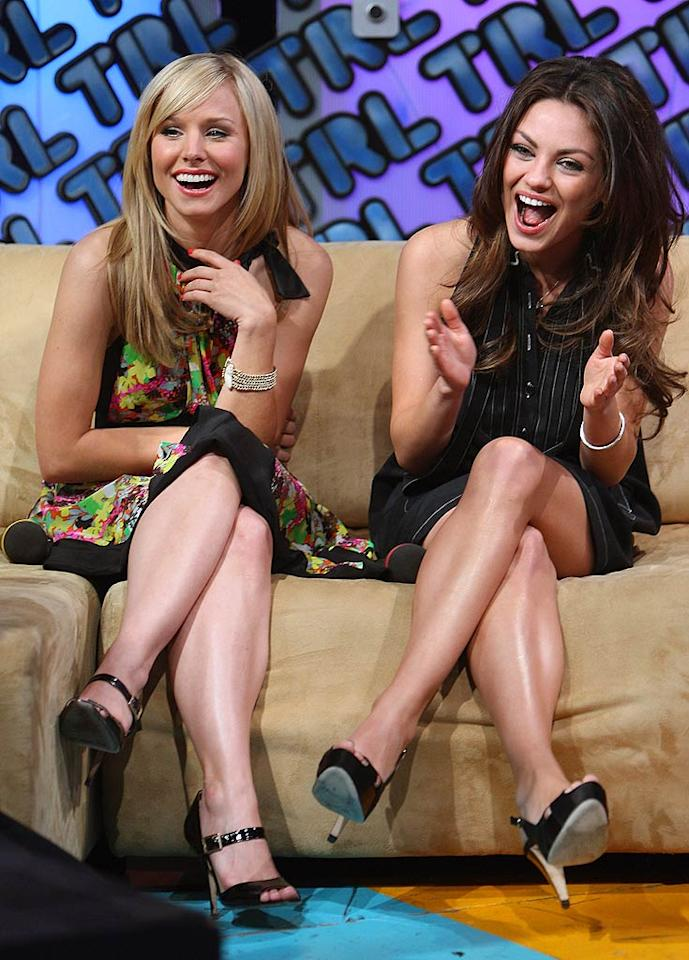 "Kristen Bell and Mila Kunis share a laugh while answering questions about their new flick, ""Forgetting Sarah Marshall,"" on TRL. Theo Wargo/<a href=""http://www.wireimage.com"" target=""new"">WireImage.com</a> - April 15, 2008"