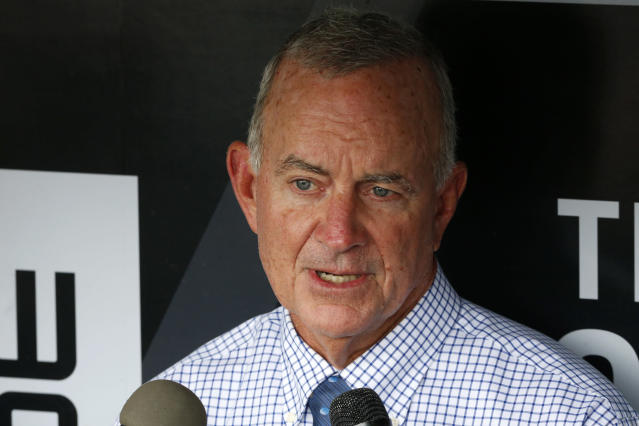 "<a class=""link rapid-noclick-resp"" href=""/mlb/teams/atl/"" data-ylk=""slk:Atlanta Braves"">Atlanta Braves</a> President of Baseball Operations John Hart, center, talks with reporters in the dugout before a baseball game against the <a class=""link rapid-noclick-resp"" href=""/mlb/teams/pit/"" data-ylk=""slk:Pittsburgh Pirates"">Pittsburgh Pirates</a> in Pittsburgh, Tuesday, May 17, 2016. (AP Photo/Gene J. Puskar)"