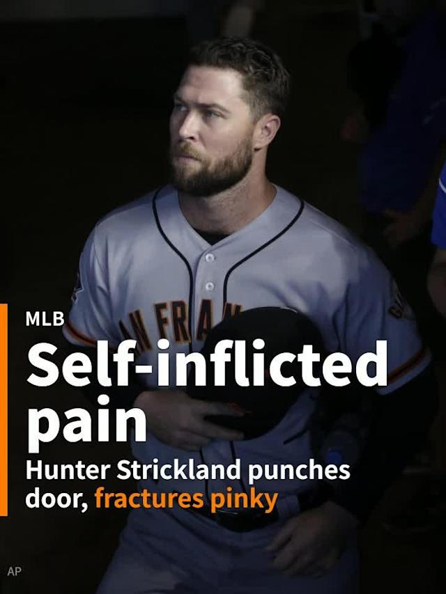 After blowing a save Monday night against the Miami Marlins, San Francisco 49ers pitcher Hunter Strickland punched a door and fractured his hand.