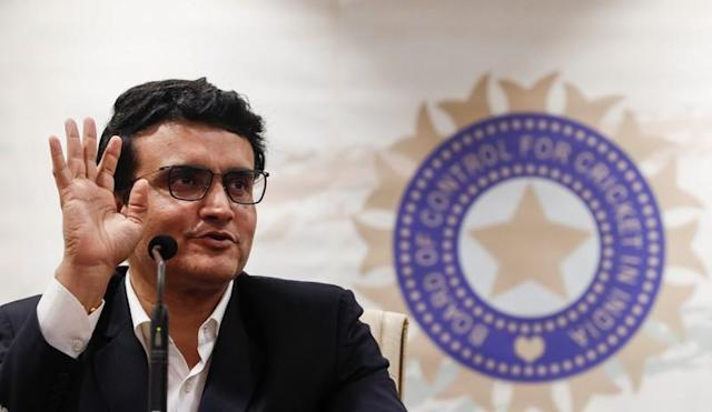 Former Indian cricketer and current BCCI, president Sourav Ganguly reacts during a press conference at the BCCI headquarters in Mumbai