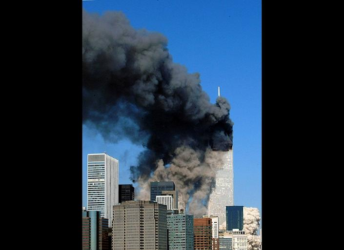 "After burning for 56 minutes, the south tower of the World Trade Center <a href=""http://timeline.national911memorial.org/#/Explore/2"" target=""_hplink"">collapsed</a> at 9:59 a.m. The fall, which killed approximately 600 workers and first responders, lasted 10 seconds."
