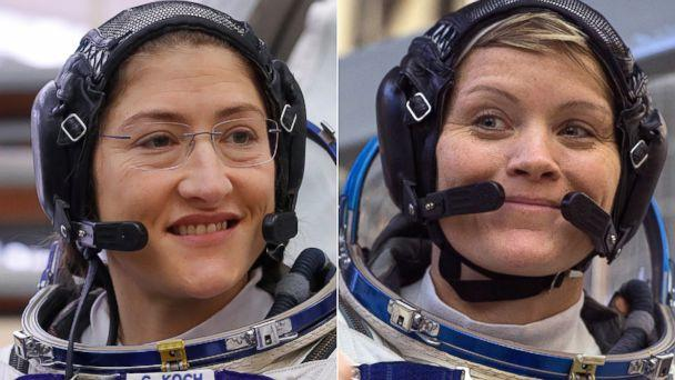 PHOTO: NASA astronauts Christina Koch, left, and Anne McClain, Star City near Moscow, Russia, during their training for their upcoming mission which will include the first-ever all-female spacewalk. (Reuters |Getty Images, FILE)