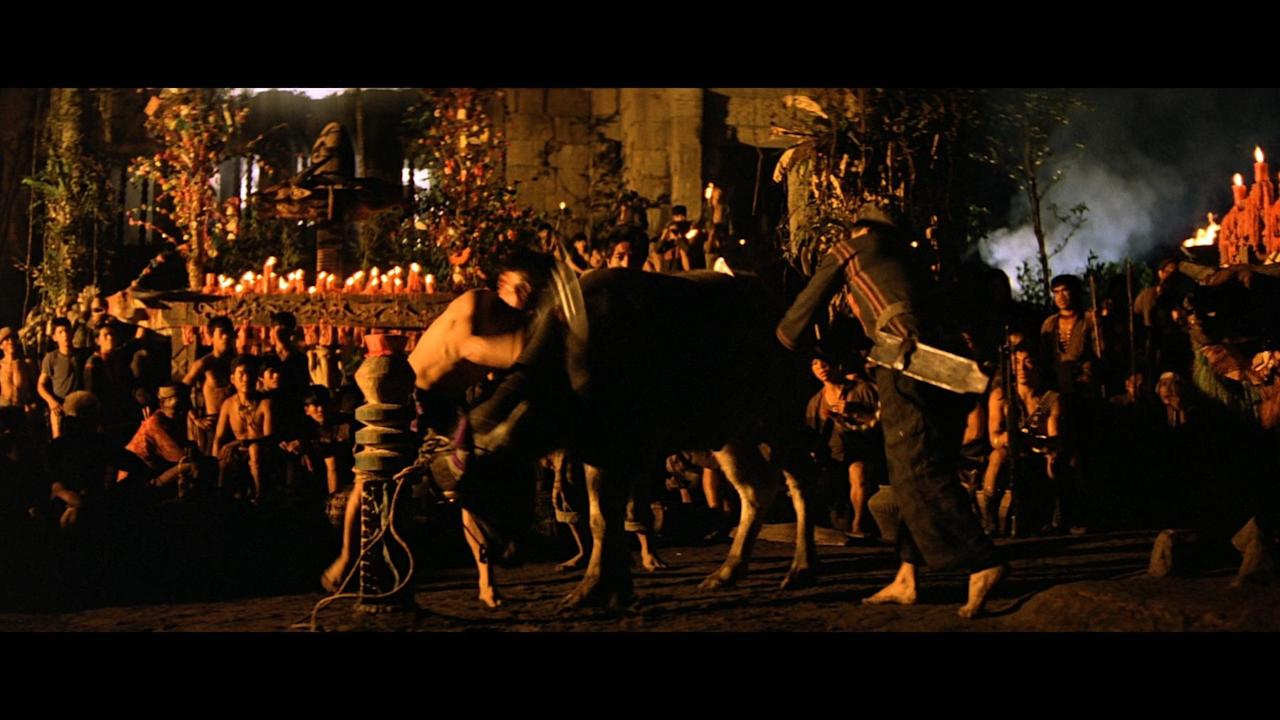 <p>The surreal war movie features a sequence in which a water buffalo is hacked to death with machetes. The scene was real, and the film was given the same unacceptable rating as First Blood. What is it with these war movies and animal death? </p>
