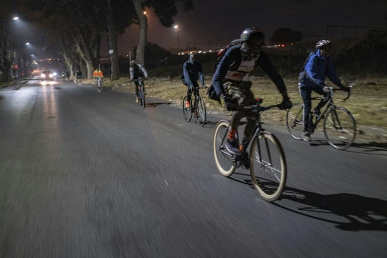 The 'biking bandits' get together twice a month for the 12-kilometre ride through the township