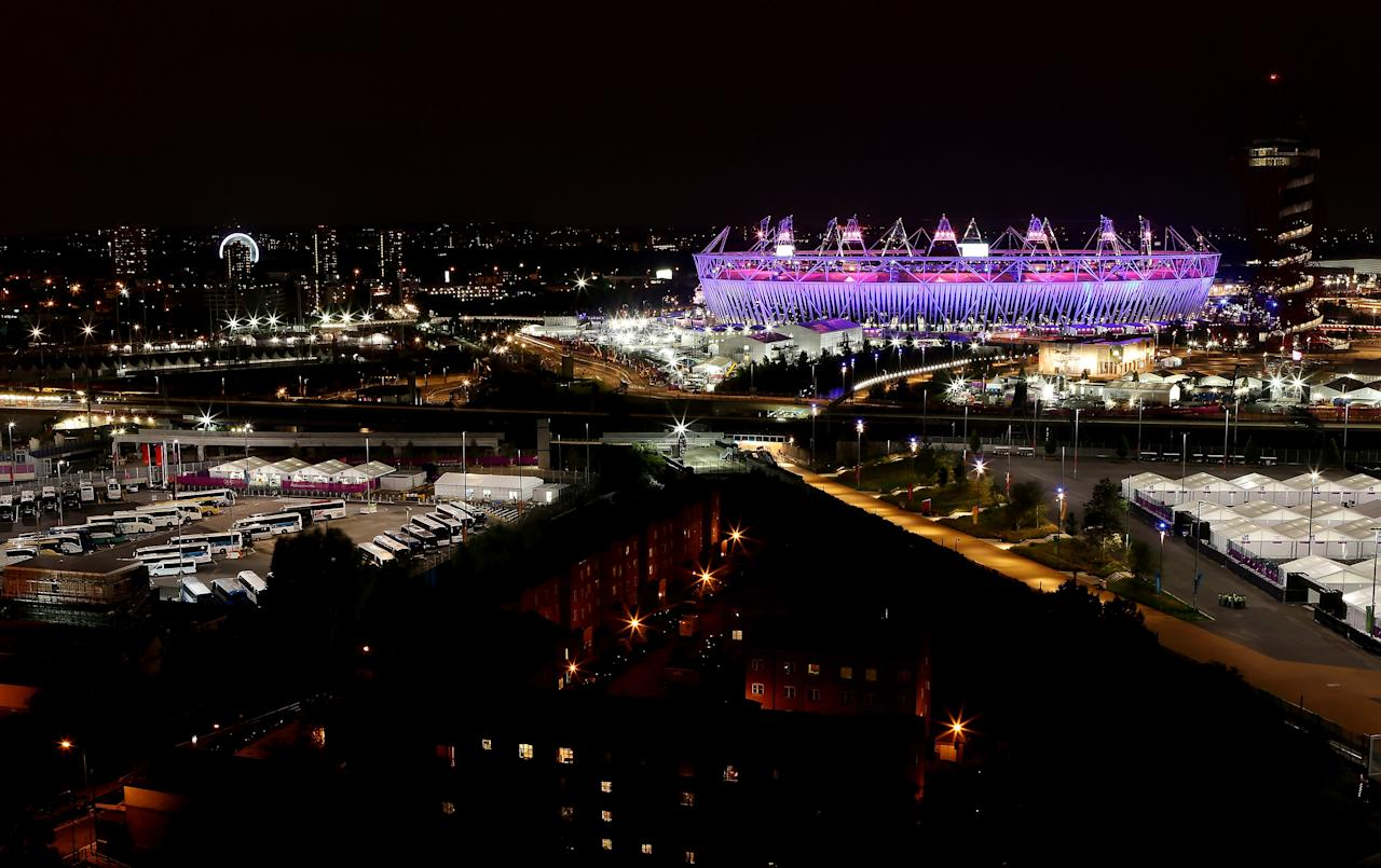 LONDON, ENGLAND - JULY 27:  A general view of the Olympic Stadium during the opening ceremony of the 2012 Olympic Games on July 27, 2012 in London, England.  (Photo by Scott Heavey/Getty Images)