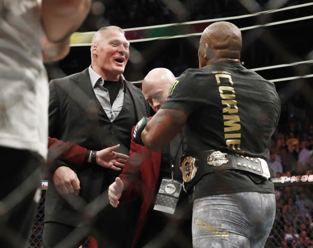 Talks of a Brock Lesnar fight took center stage as soon as Daniel Cormier won the UFC heavyweight belt at UFC 226. (AP)