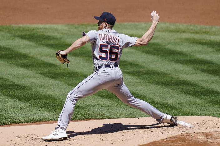 Detroit Tigers starting pitcher Spencer Turnbull throws in the first inning of a baseball game against the New York Yankees, Saturday, May 1, 2021, in New York. (AP Photo/John Minchillo)