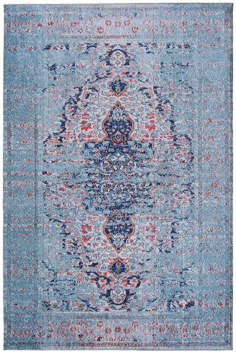 "<p><strong>Mylife Rugs</strong></p><p>amazon.com</p><p><strong>$99.95</strong></p><p><a href=""http://www.amazon.com/dp/B07KGFMNJG/?tag=syn-yahoo-20&ascsubtag=%5Bartid%7C10057.g.23303205%5Bsrc%7Cyahoo-us"" rel=""nofollow noopener"" target=""_blank"" data-ylk=""slk:BUY NOW"" class=""link rapid-noclick-resp"">BUY NOW</a></p><p>Another option from Mylife, this blue distressed rug will look perfectly soft and moody in any room, and is easy as pie to clean. </p>"