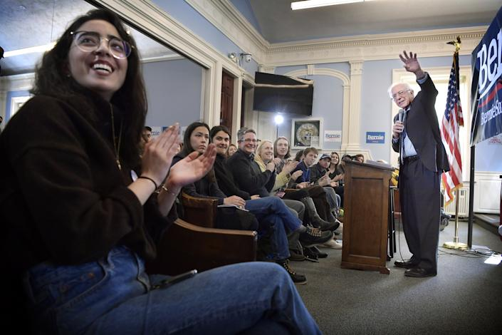 Bernie Sanders during a  election campaign meeting in Dover, New Hampshire on February 10, 2020. (Jerker Ivarsson/Aftonbladet/ ZUMA Wire)