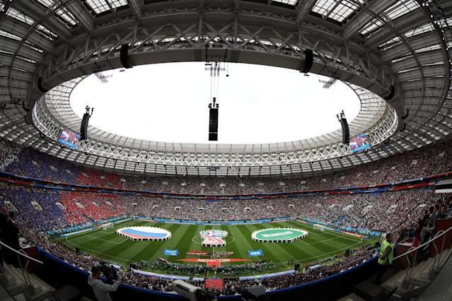 <p>MOSCOW, RUSSIA – JUNE 14: Russia and Saudi Arabia teams line up prior to the 2018 FIFA World Cup Russia Group A match between Russia and Saudi Arabia at Luzhniki Stadium on June 14, 2018 in Moscow, Russia. (Photo by Sandra Montanez – FIFA/FIFA via Getty Images) </p>