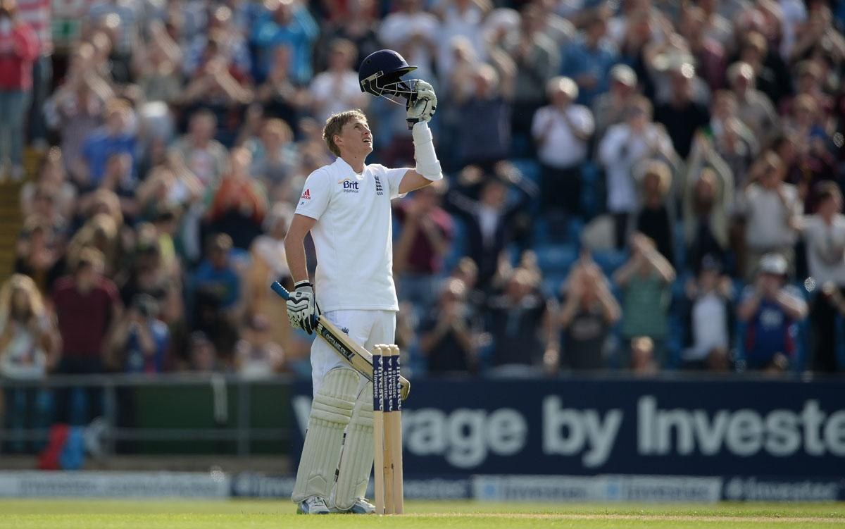 LEEDS, ENGLAND - MAY 25:  Joe Root of England celebrates reaching his century during day two of 2nd Investec Test match between England and New Zealand at Headingley on May 25, 2013 in Leeds, England.  (Photo by Gareth Copley/Getty Images)