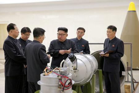 FILE PHOTO: North Korean leader Kim Jong Un provides guidance on a nuclear weapons program in this undated photo released by North Korea's Korean Central News Agency