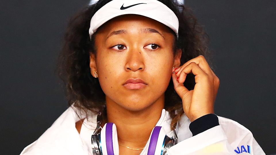 Naomi Osaka, pictured here speaking to the media at the Australian Open in 2020.