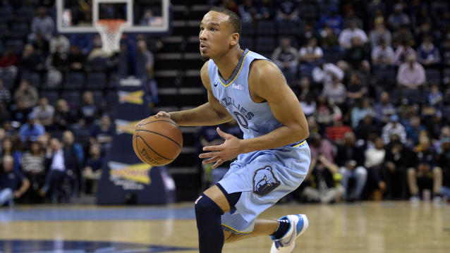 Memphis Grizzlies guard Avery Bradley (0) plays in the first half of an NBA basketball game against the Portland Trail Blazers Tuesday, March 5, 2019, in Memphis, Tenn. (AP Photo/Brandon Dill)