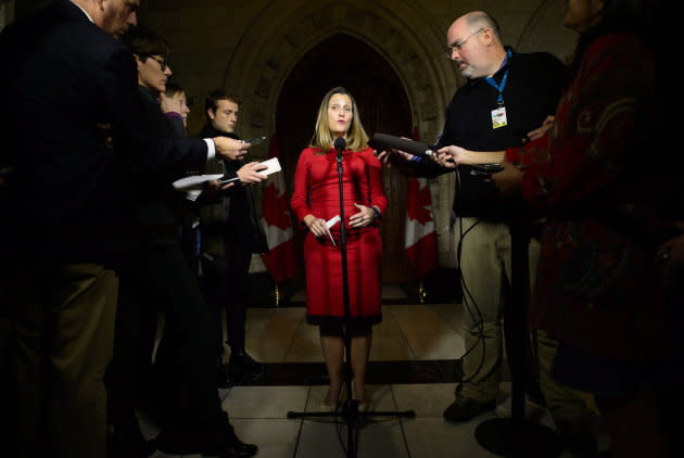 Foreign Affairs Minister Chrystia Freeland speaks to reporters on Parliament Hill in Ottawa on Oct. 15, 2018.