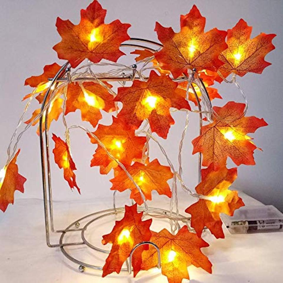orange leaf fairy lights, fall decorating tips