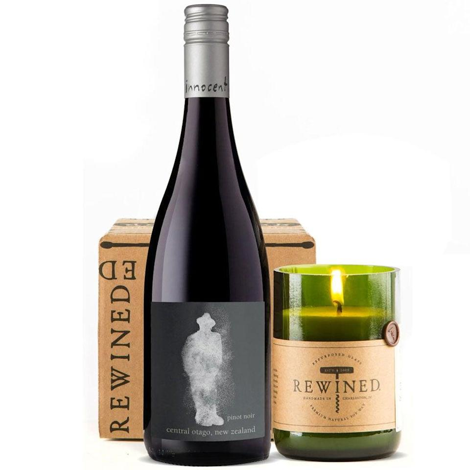 """<h2>90 Point Pinot Noir & Rewined Candle Gift Set</h2><br>Get <em>really</em> into the wine theme for Mom's Day with this gift duo that combines a bottle of pinot with a hand-poured pinot-scented candle that's packaged inside a recycled-wine-bottle votive (probably also pinot). <br><br><em>Shop <strong><a href=""""https://www.wine.com/list/gifts/7151"""" rel=""""nofollow noopener"""" target=""""_blank"""" data-ylk=""""slk:Wine.com"""" class=""""link rapid-noclick-resp"""">Wine.com</a></strong></em><br><br><strong>Multiple Brands</strong> 90 Point Pinot Noir & Rewined Candle Gift Set, $, available at <a href=""""https://go.skimresources.com/?id=30283X879131&url=https%3A%2F%2Fwww.wine.com%2Fproduct%2F90-point-pinot-noir-and-rewined-candle-gift-set%2F116150"""" rel=""""nofollow noopener"""" target=""""_blank"""" data-ylk=""""slk:Wine.com"""" class=""""link rapid-noclick-resp"""">Wine.com</a>"""