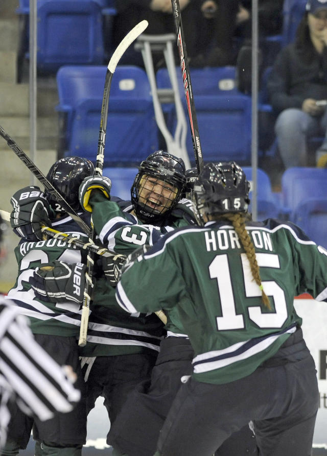 Mercyhurst players celebrate their first goal during first period in an NCAA college hockey game against Clarkson in the semifinals of the women's Frozen Four in Hamden, Conn., Friday, March 21, 2014. (AP Photo/Fred Beckham)