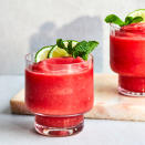 <p>Watermelon is the dominant flavor in this frozen rum and watermelon cocktail, with a subtle hint of mint shining through. Making simple syrup is easy, plus, having leftover mint syrup on hand is nice for whipping up extra cocktails.</p>