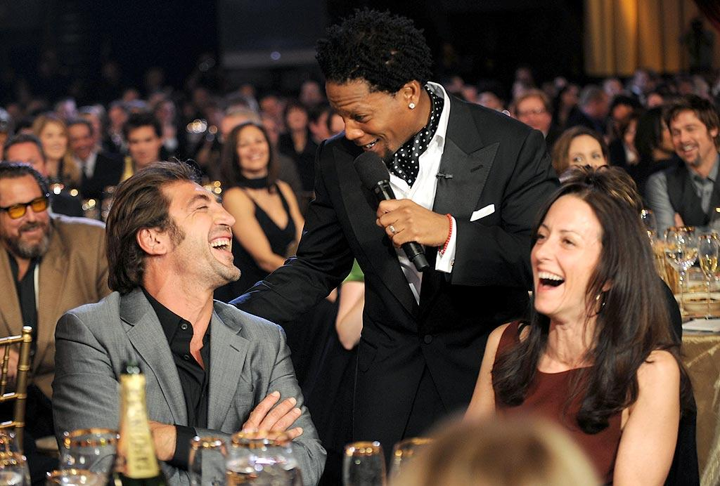 "Host D.L. Hughley jokes around with Javier Bardem, who nabbed the Critics' Choice Award for Best Supporting Actor in ""No Country for Old Men."" Kevin Mazur/<a href=""http://www.wireimage.com"" target=""new"">WireImage.com</a> - January 7, 2008"