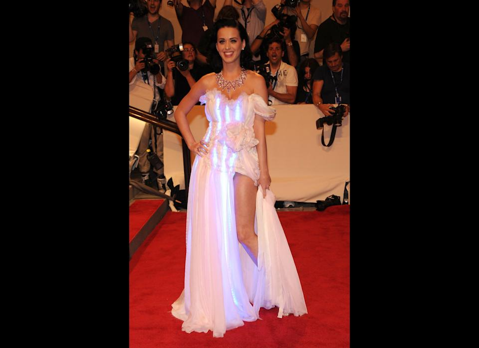 Singer Katy Perry attends the Costume Institute Gala Benefit to celebrate the opening of the 'American Woman: Fashioning a National Identity' exhibition at The Metropolitan Museum of Art on May 3, 2010 in New York City.  (Photo by Larry Busacca/Getty Images)