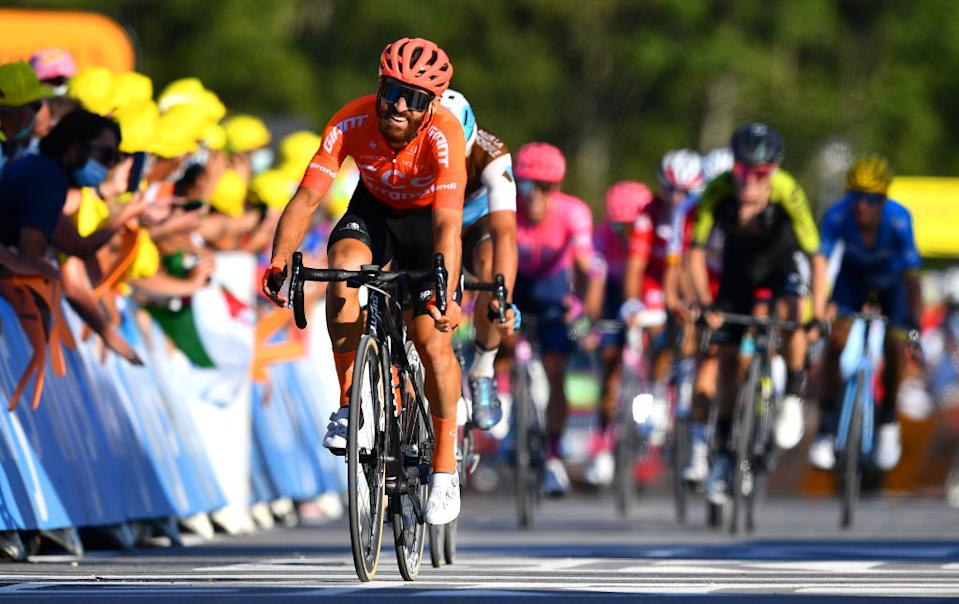 LA ROCHESURFORON FRANCE  SEPTEMBER 17 Arrival  Simon Geschke of Germany and CCC Team  during the 107th Tour de France 2020 Stage 18 a 175km stage from Mribel to La Roche sur Foron 543m  TDF2020  LeTour  on September 17 2020 in La RochesurForon France Photo by Stuart FranklinGetty Images