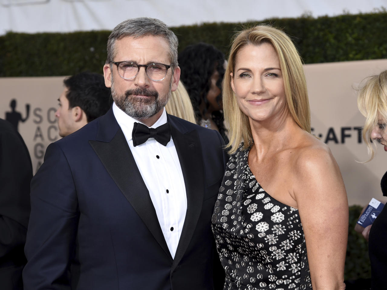 Steve Carell, left, and Nancy Carrell arrive at the 24th annual Screen Actors Guild Awards at the Shrine Auditorium & Expo Hall on Sunday, Jan. 21, 2018, in Los Angeles. (Photo by Richard Shotwell/Invision/AP)