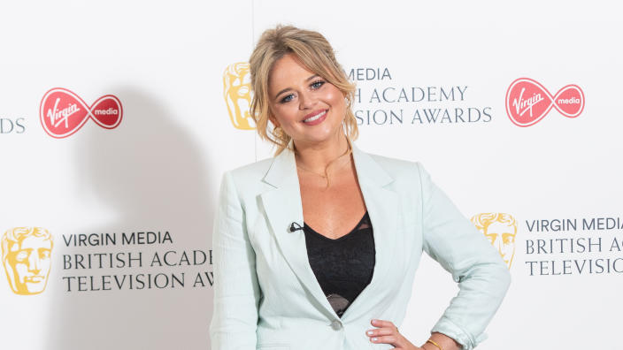 Emily Atack arrives for the Virgin Media BAFTA TV awards at TV Centre in London. (Photo by Dominic Lipinski/PA Images via Getty Images)
