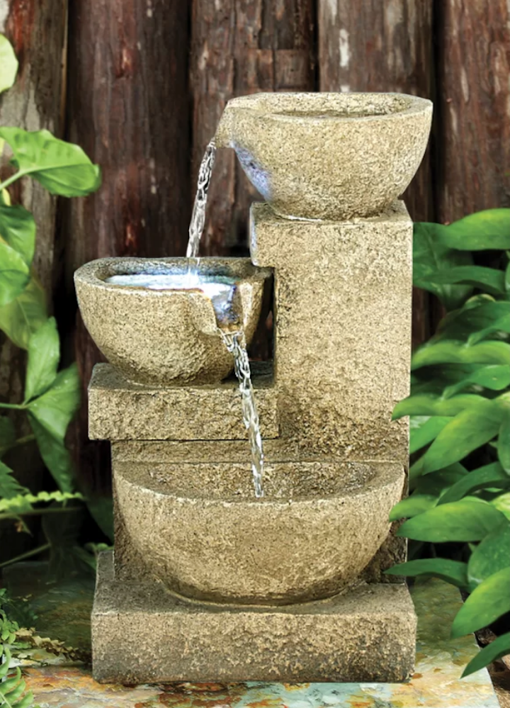 Resin Cascading Garden Tiered Fountain with LED Light