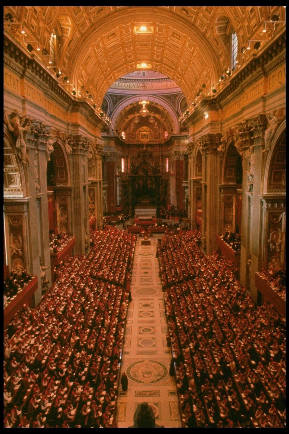 The Second Vatican Council in session in St Peter's: Küng's ideas for reform influenced the council in its early stages until Pope John XXIII was succeeded by the more conservative Pope Paul VI -  Carlo Bavagnoli /The LIFE Images Collection via Getty Images