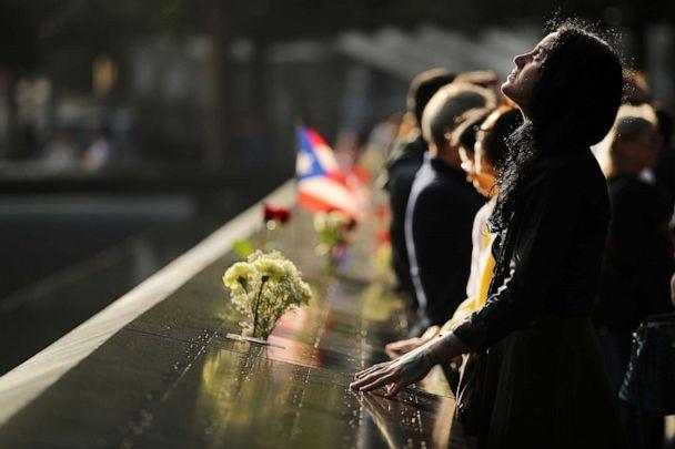 PHOTO: Alexandra Hamatie, whose cousin Robert Horohoe was killed on September 11, pauses at the National September 11 Memorial during a morning commemoration ceremony for the victims of the terrorist attacks, Sept. 11, 2019, in New York City. (Spencer Platt/Getty Images)