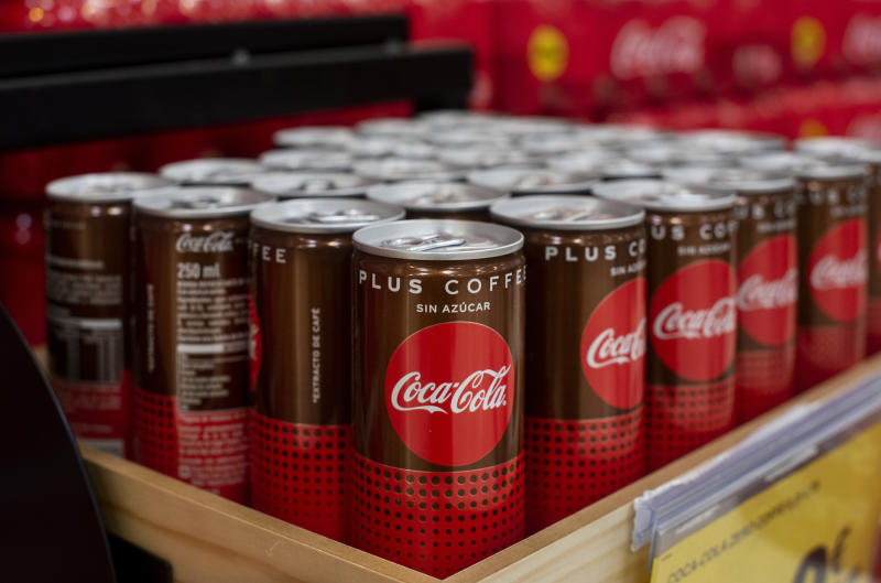 SPAIN - 2019/06/20: America soft-drink coca-cola with coffee flavoured, coca-cola plus coffee, displayed for sale at the Carrefour supermarket in Spain. (Photo by Budrul Chukrut/SOPA Images/LightRocket via Getty Images)