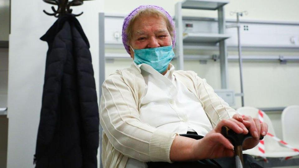 A patient after receiving a coronavirus vaccine in Poland
