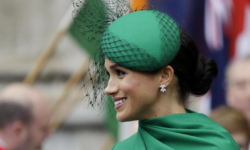 Meghan, Duchess of Sussex, with her hair in a bun