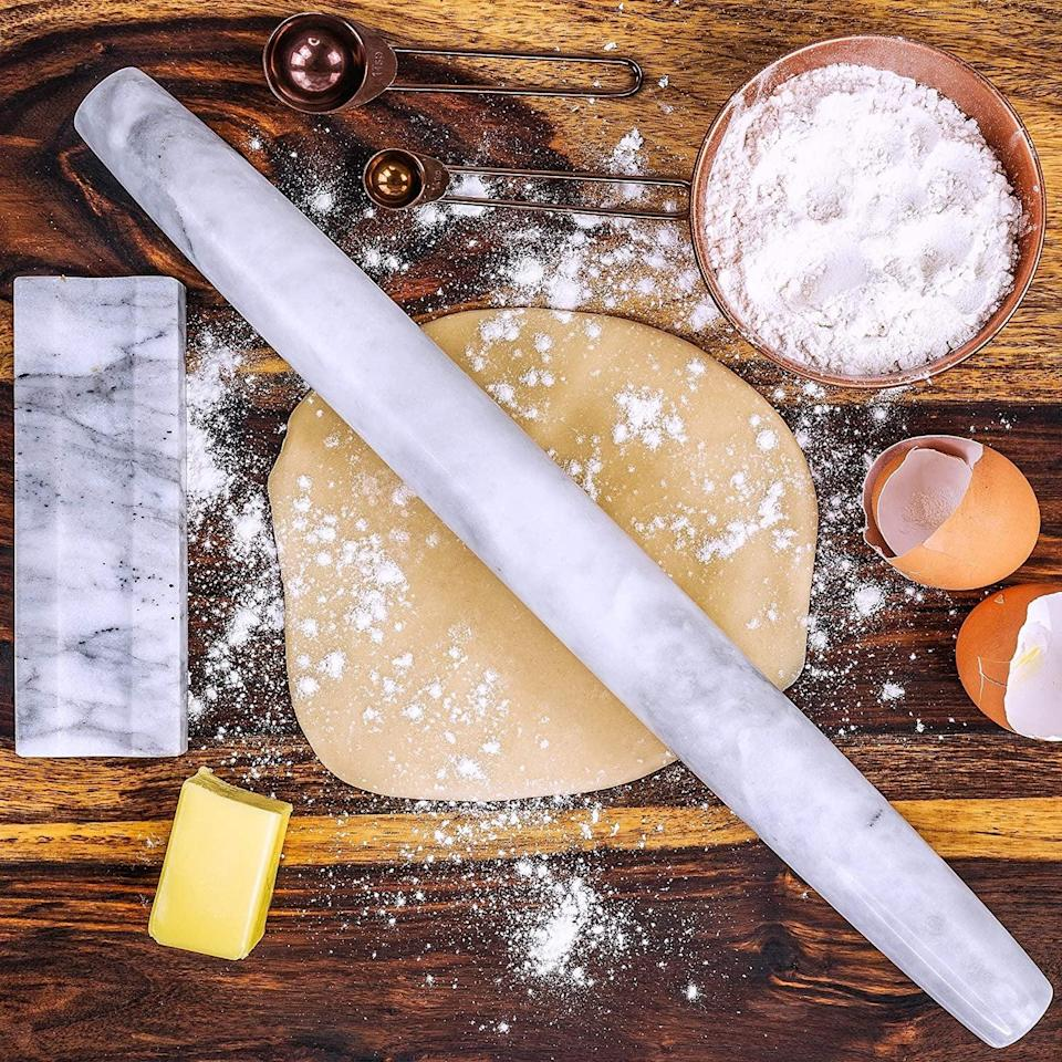 <p>Make pastas, pizzas, pies, and more with this stunning <span>Marble French Rolling Pin With Stand</span> ($30).</p>