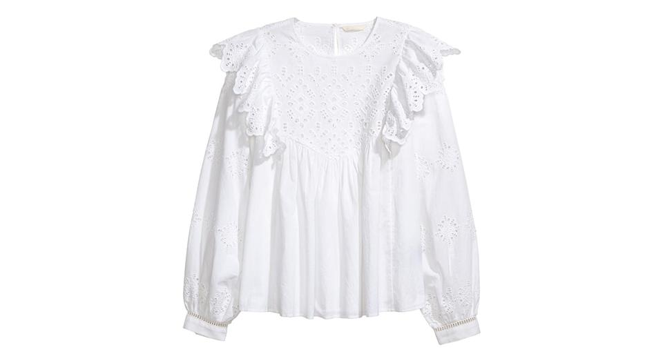 """<p>A white blouse is a must. It's ideal workwear attire and looks great dressed down at the weekend with a pair of jeans and trainers. <a rel=""""nofollow noopener"""" href=""""http://www2.hm.com/en_gb/productpage.0618778001.html"""" target=""""_blank"""" data-ylk=""""slk:Buy here."""" class=""""link rapid-noclick-resp""""><em>Buy here.</em></a> </p>"""