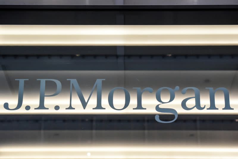 FILE PHOTO: A J.P. Morgan logo is seen in New York City