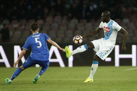 Football Soccer - Napoli v Juventus - Italian Serie A - San Paolo stadium, Naples, Italy - 2/4/17 Napoli's Kalidou Koulibaly in action with Juventus' Miralem Pjanic Reuters / Ciro De Luca Livepic