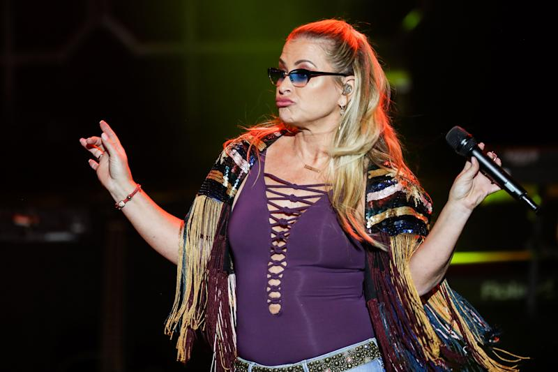 MOSCOW REGION, RUSSIA - NOVEMBER 21, 2018: American singer Anastacia performs during a concert at the Crocus City Hall. Vyacheslav Prokofyev/TASS (Photo by Vyacheslav Prokofyev\TASS via Getty Images)