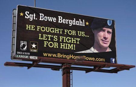 A billboard calling for the release of U.S. Army Sergeant Bowe Bergdahl, held for nearly five years by the Taliban after being captured in Afghanistan, is shown in this picture taken near Spokane, Washington on February 25, 2014. REUTERS/Jeff T. Green/Files
