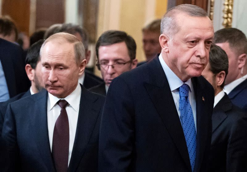 FILE PHOTO: Russian President Putin meets with Turkish President Erdogan in Moscow