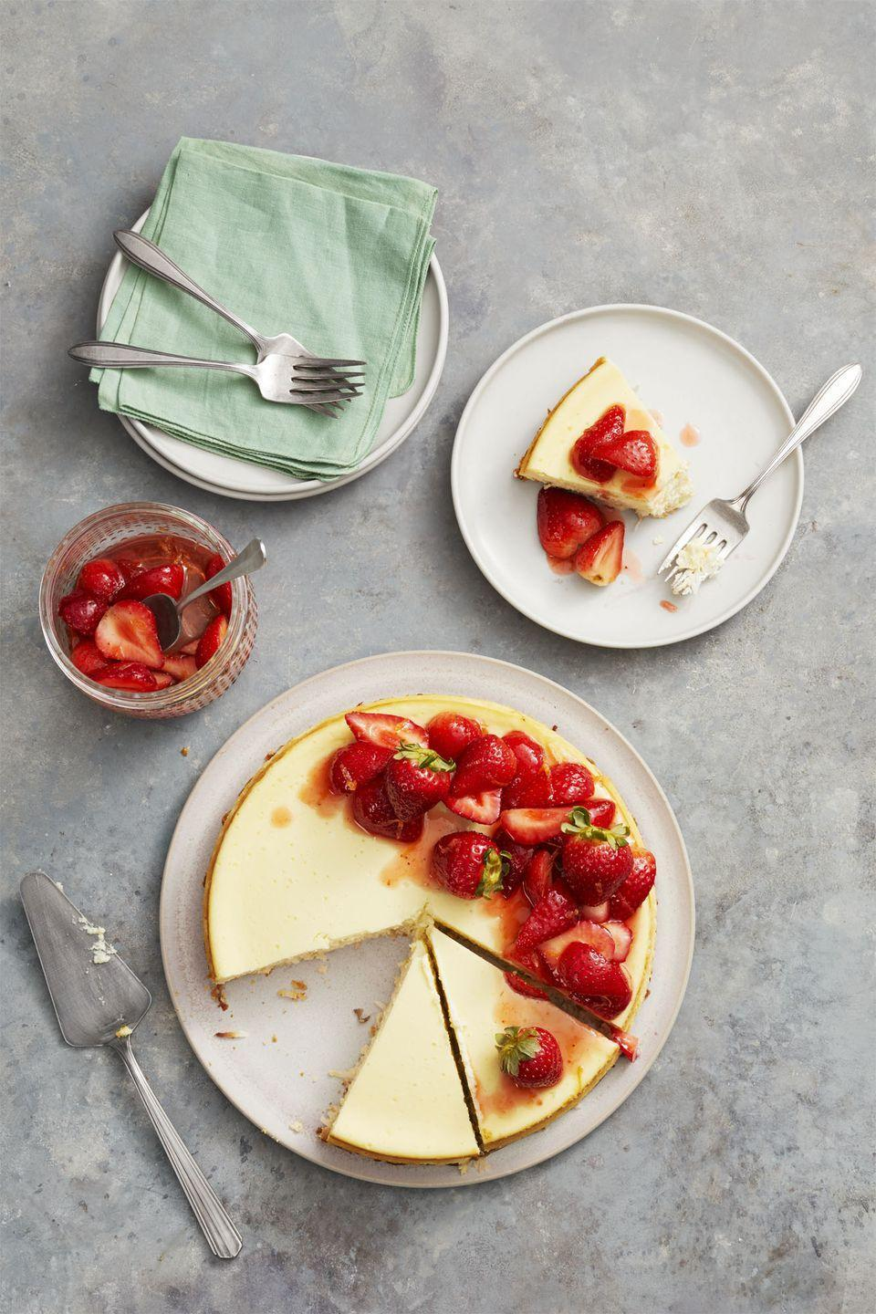 """<p>Dress up this gluten-free cheesecake with sugary-sweet strawberries to make a dessert fit for the season.</p><p><em><a href=""""https://www.goodhousekeeping.com/food-recipes/dessert/a26783658/strawberry-coconut-crust-cheesecake-recipe/"""" rel=""""nofollow noopener"""" target=""""_blank"""" data-ylk=""""slk:Get the recipe for Strawberry Coconut-Crust Cheesecake »"""" class=""""link rapid-noclick-resp"""">Get the recipe for Strawberry Coconut-Crust Cheesecake »</a></em></p><p><strong>RELATED:</strong> <a href=""""https://www.goodhousekeeping.com/food-recipes/dessert/g4299/strawberry-desserts/"""" rel=""""nofollow noopener"""" target=""""_blank"""" data-ylk=""""slk:20 Sweet Strawberry Desserts for Spring and Summer"""" class=""""link rapid-noclick-resp"""">20 Sweet Strawberry Desserts for Spring and Summer</a></p>"""