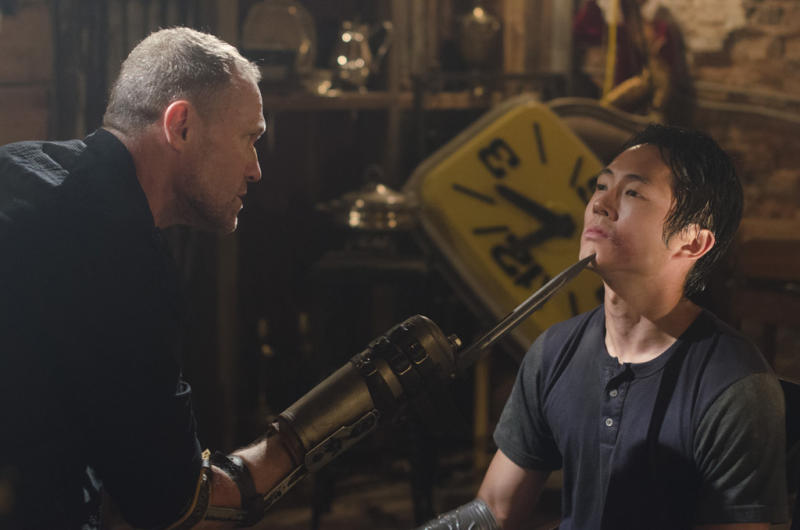 """Merle Dixon (Michael Rooker) and Glenn (Steven Yeun) in """"The Walking Dead"""" episode, """"When the Dead Come Knocking."""""""
