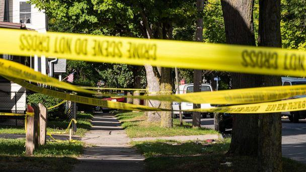 PHOTO: Police tape lines a crime scene after a shooting at a backyard party on Sept. 19, 2020, in Rochester, N.Y. Two young adults -- a man and a woman -- were reportedly killed, and 14 people were injured in the shooting early Saturday morning. (Joshua Rashaad Mcfadden/Getty Images)