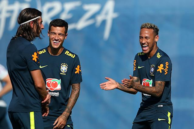 Soccer Football - World Cup - Brazil Training - Brazil Training Camp, Sochi, Russia - June 24, 2018 Brazil's Neymar, Philippe Coutinho and Filipe Luis during training REUTERS/Hannah McKay