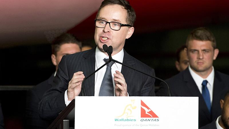 Qantas CEO Alan Joyce, pictured here at the Australian Rugby World Cup squad announcement in 2015.
