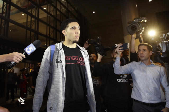 LiAngelo Ball returns to Los Angeles after being detained in China. (AP)